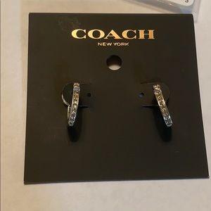 CoachPaveSignature Huggie Earrings